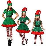 Kosplay Parent-Enfant Costumes de Noël Vert Costume de Lutin de Noël Enfant Cosplay...