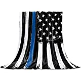 Thin Blue Line Police Blanket Fleece Throw Blankets 40'' x 50'', Lightweight Super Soft Micrifiber Honor Law Enforcement USA Vintage Warm Plush Cozy Luxury Bed Blankets All Season for Couch/Sofa/Gift