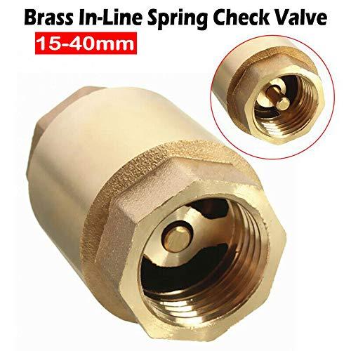 Válvula de retención sin retorno, válvula de retención de resorte de 1/2 a 1 1/2 pulgadas, válvula de retención de latón para agua, aceite, vapor y otros medios, dorado