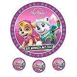 Tortenaufleger Geburtstag Tortenbild Zuckerbild Oblate Motiv: Paw Patrol Little Girls Pup Power -
