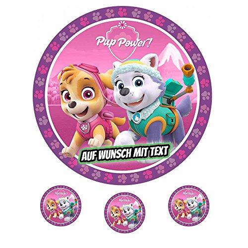 Tortenaufleger Geburtstag Tortenbild Zuckerbild Oblate Motiv: Paw Patrol Little Girls Pup Power (Oblatenpapier)