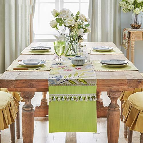Drapeau de Table, Tissu de Table Basse, Nappe brodée en Coton et Lin(B; 35 * 250cm)