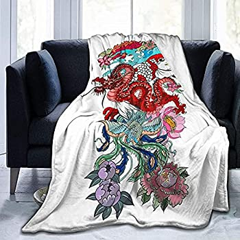 Japanese Peacock Tattoo Throw Fleece Blanket Flannel Ultra Soft Lightweight Microfiber Luxury Air Conditioner Quilt for Sofa Bedroom Office Travel All Season-Black-5040in