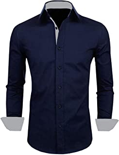 IndoPrimo Men's Cotton Casual Shirt for Men Full Sleeves (Navy Blue)