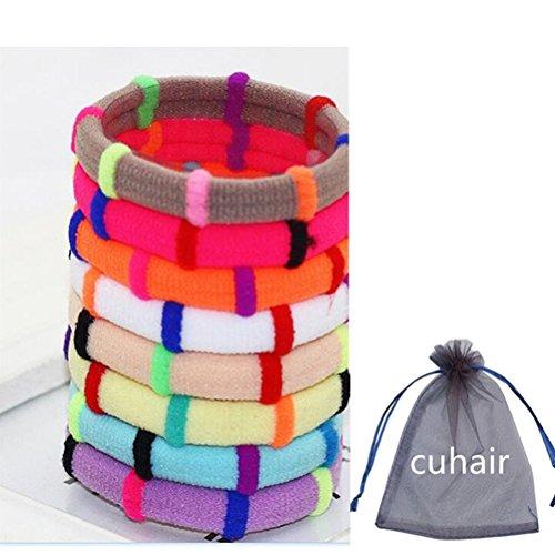 Cuhair (tm) 10pcs Elastic Hair Bands cravate en caoutchouc Caddie Ponytail Holder Enfants tissu enfant femme enfant Enfant Accessoires pour cheveux Scrunchie cadeau Diamètre 4.5cm