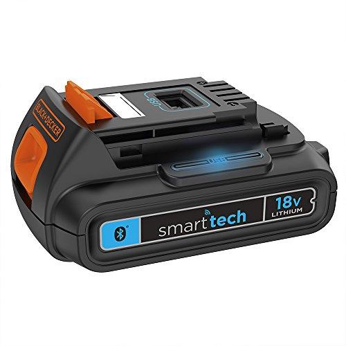 Black+Decker SmartTech Akku (27Wh, 18V, 1.5Ah, für BD/EGBL/EGBHP/EPL/ASD/ASL/MULTIEVO, zum Laden von Mobiltelefonen/Tablets, mit USB-Ladeport, mit Sperrfunktion, Lokalisierungs-Button) BL1518ST