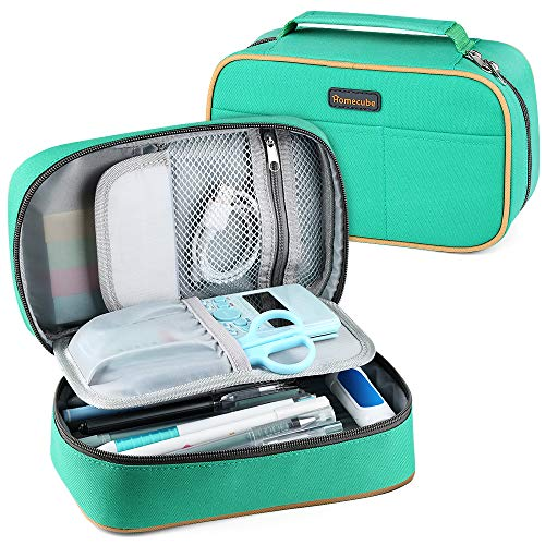 Homecube Pencil Case Big Capacity Storage Pen Bag Makeup Pouch Zippered Students Stationery Bag with Outer Pockets and Handle- 8.7x5.5x3'- Green