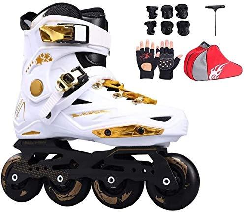 LQ Erwachsene Kinder Kinder Inline-Skate Roller Skating Schuhe Helm Knieschützer Gang Einstellbare Räder Patines, 2 Farben (Color : White C, Size : EU 37US 5UK 4JP 23.5cm)