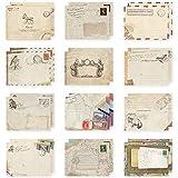 Papel Tarjetas Regalo Vintage, 12 Piezas Envelope Vintage, Sobres Mini Kraft, Mini Sobres de Papel Kraft, Sobres De Papel Vintage, para Tarjetas Postales de Invitación Fiesta Boda (9.5 x 7.2cm)