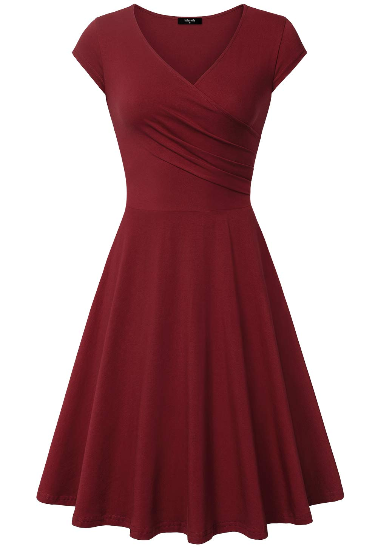 Available at Amazon: Lotusmile Casual Dress Women's Elegant Dress A Line Cap Sleeve V Neck