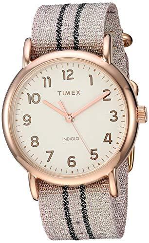 Timex Weekender Damen-Armbanduhr, 38 mm Metallic Blush/Graphit Stripe