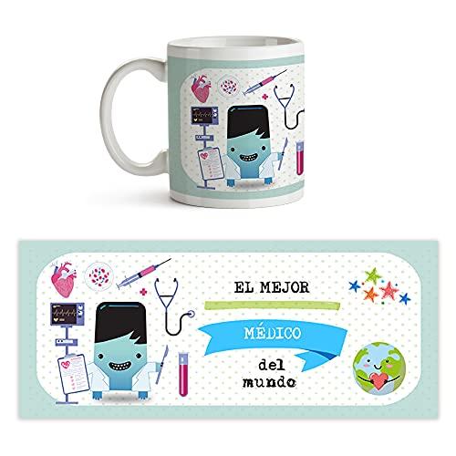 Fotoprix Taza al mejor Médico del mundo | Taza de café para Médicos y doctores | Taza de desayuno regalo original para Doctor