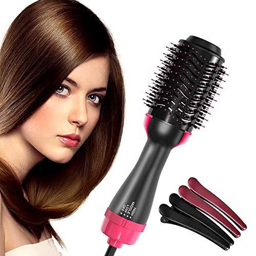Hair Dryer Brush, DIOZO One Step Ionic Hair Straightener Brush 3-IN-1 Negative lon Hair Dryer & Volumizer Styling for Stright & Curly Hair 3 Heat Setting Hair Straightening Brush with 4Pcs Hair Clips