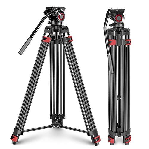 Neewer Hochleistungs Videostativ aus 77 Zoll Aluminiumlegierung mit 360 Grad Flüssigkeitsbremskopf Schnellwechselplatte Wasserwaage für DSLR Kameras Belastbarkeit bis zu 26,5 Pfund