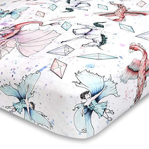 Jaxson's World Unicorn and Dragon Watercolor Girls Fantasy Crib Sheet   100% Extra Soft Jersey Knit Cotton