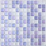 Yoillione 3D Mosaic Tile Sticker Removable Wallpaper Tile Purple, 3D Self Adhesive Wall Tiles Bathroom Wall Tiles for Kitchen Backsplash Purple, PVC Square Decorative Vinyl Tile Decals, 4 Sheets