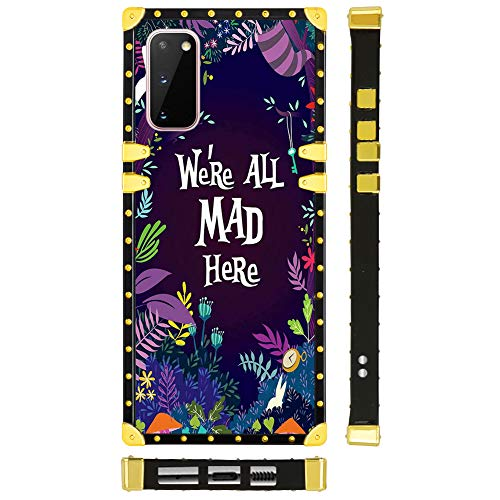 DISNEY COLLECTION Samsung Galaxy S20 Case Alice in Wonderland Pattern Glitter Square Luxury Design Slim Shockproof Bumper Protective Cover for Galaxy S20 5G (6.2 Inch 2020 Released)