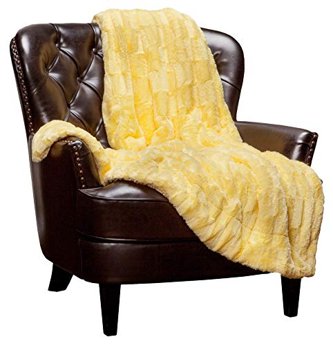 Chanasya Fuzzy Faux Fur Elegant Rectangular Embossed Throw Blanket - Plush Sherpa Microfiber Sunny Yellow Blanket for Bed Couch (50x65 Inches) Yellow