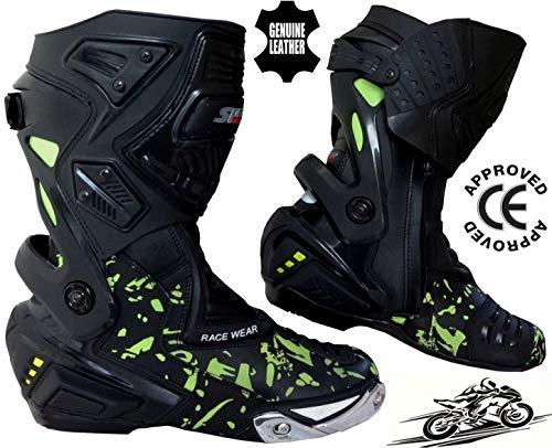 Speed MaxX HIVIZ CAMO Moto Motocicleta CE Racing Zapatos de cuero Botas