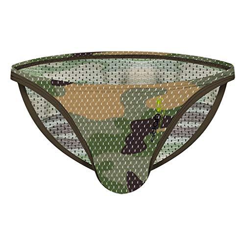 CO&CO Camuflaje Sexy Transpirable Sexy De Camuflaje De Baja Altura Y Correas De Correas En La Ropa Interior (Paquete De 3)(Size:L,Color:Verde)