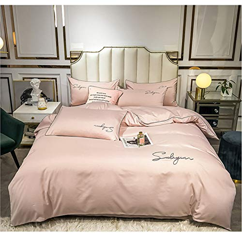 DUIPENGFEI Four-Piece Solid Color Brushed Embroidery Bed Set, Cotton Skin-Friendly Duvet Cover Set, Light Pink, Set King 220X240Cm