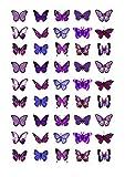 Cakeshop 45 x Essbare Lila Schmetterlingskuchen Topper (Tortenaufleger, Bedruckte Oblaten, Oblatenaufleger) -