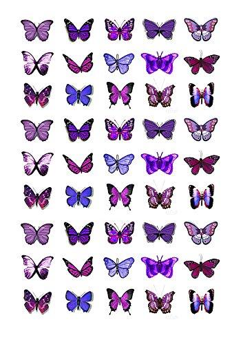 45 x Cakeshop decoración para pasteles comestibles en forma de Mariposas de color Morado