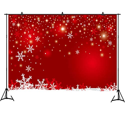 Aperturee Christmas Backdrops for Photography 7x5ft Winter Snowflake Red Photo Booth Background Family Holiday Party Pictures Baby's First Christmas Photos