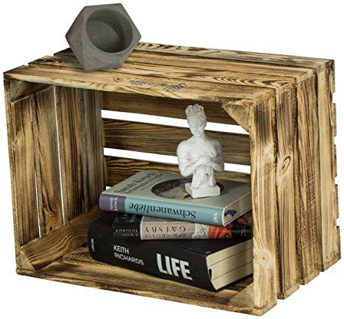 LAUBLUST Große Vintage Holzkiste - 40x30x25cm, Geflammt, Neu, Unbenutzt | Möbel-Kiste | Wein-Kiste | Obst-Kiste | Apfel-Kiste | Deko-Kiste aus Holz