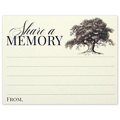 Share a Memory Card for Memorial Funeral or Celebration of Life - Flat Cards Size 4.25x5.5 Inches - Pack of 40