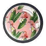 Tirador de la perilla del cajón 4 piezas El cajón del gabinete de vidrio de cristal tira las perillas del armario,Vector, flamenco rosado, con, flores, y, lea