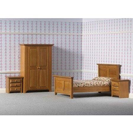 Schrank Puppenhaus Möbel Spielzeug Set Schlafzimmer Bett Nachttisch 1//12