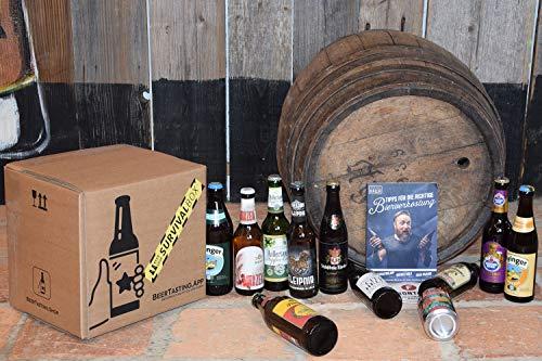 Bier Survival Box inkl. 10x0,33l Bierspezialitäten von privaten Brauereien, 1 Verkostungsglas, 2 BeerTasting Bierdeckel und 2 Rollen Toilettenpapier 3-lagig