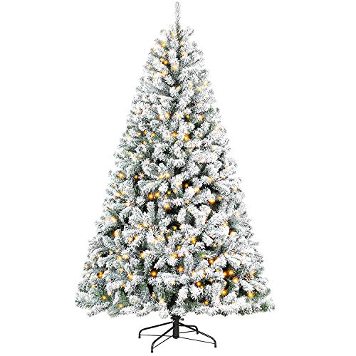 Hykolity 7.5 ft Snow Flocked Christmas Tree, Artificial Christmas Tree with Pine Cones, 500 Warm White Lights, 1440 Tips, Metal Stand and Hinged Branches