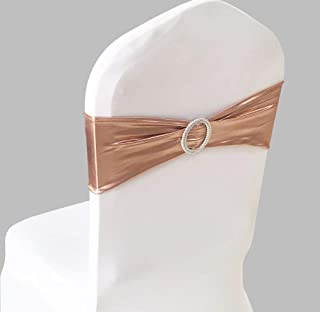 SINSSOWL 100PCS Stretch Wedding Chair Bands with Buckle Lycra Slider Sashes Bow Decorations 25 Colors (Rose Gold, Pink Gold)