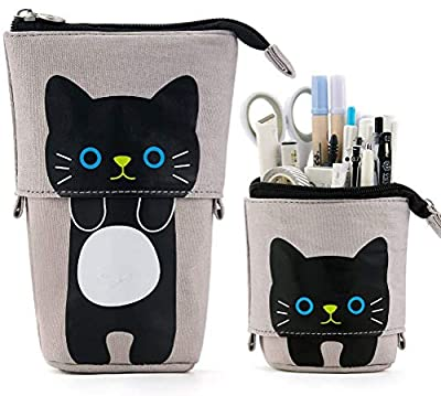Stand Pencil Holder, Cartoon Cute Cat Pencil Case Box Pen Bag Telescopic Pencil Pouch Bag Stationery Cosmetic Bags Storage Bag Make Up Bag with Zipper for Boys Girls for College Office Study(Blue)