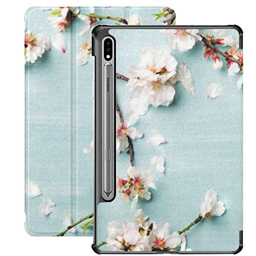 Galaxy Tablet S7 Plus Custodia da 12,4 pollici 2020 con portapenne S, sfondo floreale a molla Texture Wallpaper Flatlay Slim Stand Custodia protettiva Folio per Samsung