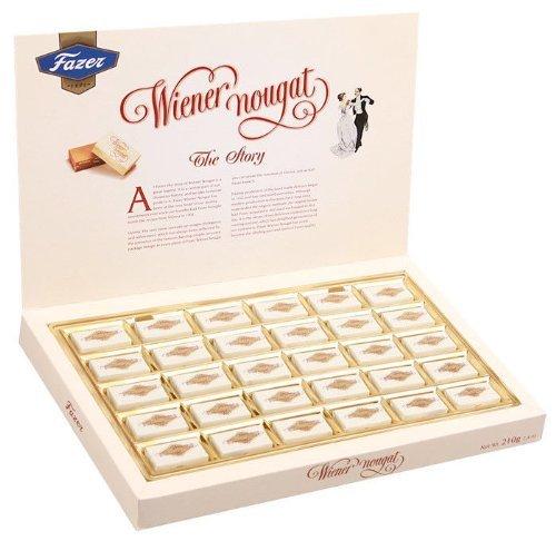 Wiener Nougat Milch Schokolade Bonbons mit weichem Mandel Krokant 210g Geschenkbox by Karl Fazer [3er Pack]