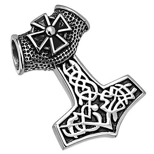 BlackAmazement 316L Edelstahl Anhänger Massiv Kette Halskette Thors Hammer Malmer Mjölnir Löwe Kriegshammer Gothic Biker Silber Herren (Anhänger ohne Kette)