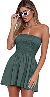 7183d97c93d just quella Women s Summer Cover Up Strapless Dresses Solid Tube Top Beach  Mini Dress