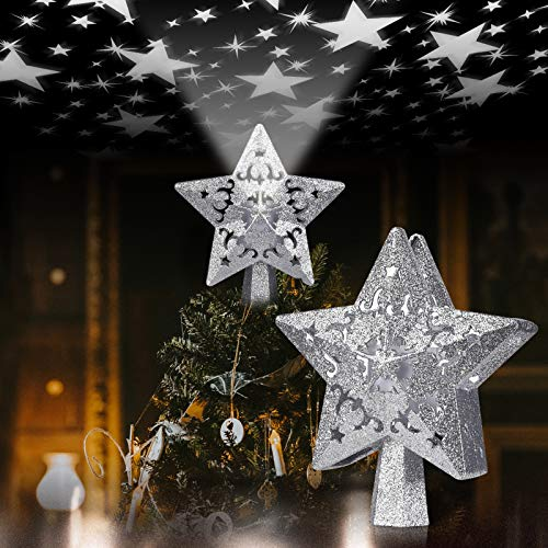 Lifechaser Christmas Tree Topper Lighted Projector for Christmas Tree Decoration Ornament (Silver, Star)
