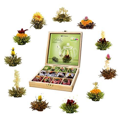 Creano Teeblumen Geschenkset in Teekiste aus Holz 12 Erblühtee in 11 Sorten weißer Tee, grüner Tee, schwarzer Tee, Teerosen, Geschenk für Frauen, Mutter, Teeliebhaber