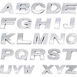 MAXGOODS Set di 26 Lettere Dell'alfabeto Adesivi, in Metallo Argento Adesivi Per Auto Logo 3D Emblema Assetto Per Uomini e Donne