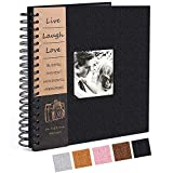 Adkwse 10 x 10 Inch DIY Scrapbook Photo Album, Hardcover 80 Pages Black Premium Thick Paper Scrapbooking Kits for Wedding and Anniversary Family Photo Album (Black)