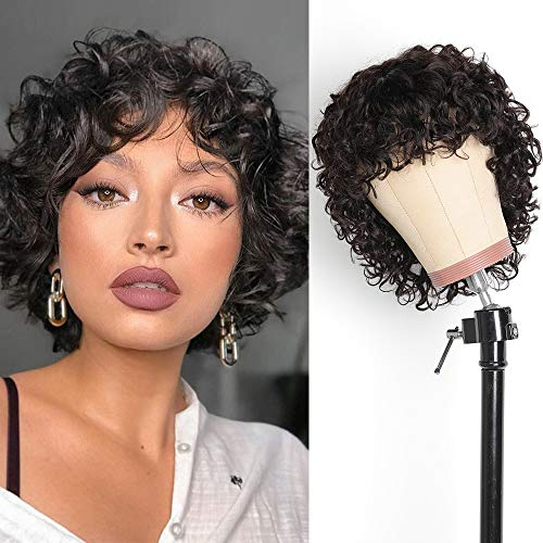 Pixie Cut Short Curly Human Hair Wigs For Black Women Bob Wigs Deep Water Wave None Lace Front Wigs Human Hair Curly Wigs With Bangs 8 inch