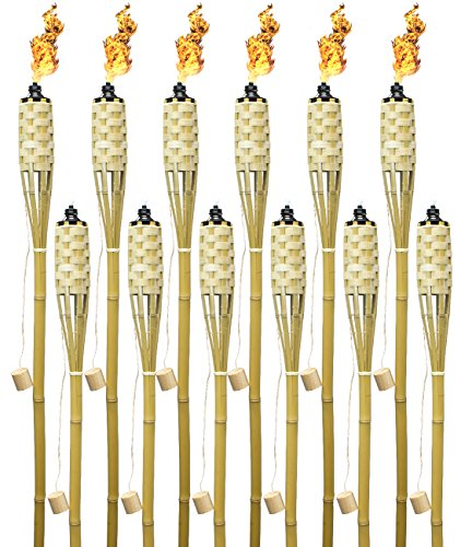 backyard torches Matney Bamboo Torches – Includes Metal Oil Canisters with Covers to Extinguish Flame – Great for Outdoor Decorating, Luau, Parties, Extra Long 60 Inches (12 Pack)