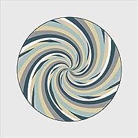 円形ラグカーペットラグ リビングルームリビングルームテーブルアクセサリーのためのベッドルーム黄色灰色渦柄ラウンドカーペットカーペット用エリア敷物寝室ファッション2020ラグマット (Size : 60cm diameter)