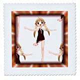 3dRose qs_28761_1 Dancing Animes-Quilt Square, 10 by