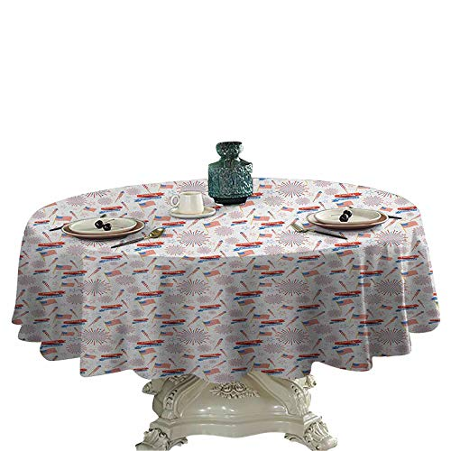 4th of July Outdoors Round Tablecloth Patriotic Festive July Holiday with American Celebration Flags and Rockets Fabric Tablecloths for Round Table 36 inch