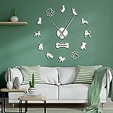 N / A Orologio da Parete Fai da Te Barboncini Toy Terrier Inglese Yorkshire Terrier Razze di Cani Misti Wall Art Home DecorOrologio da Parete Gigante Cane Animali Domestici Orologio Appeso Argento